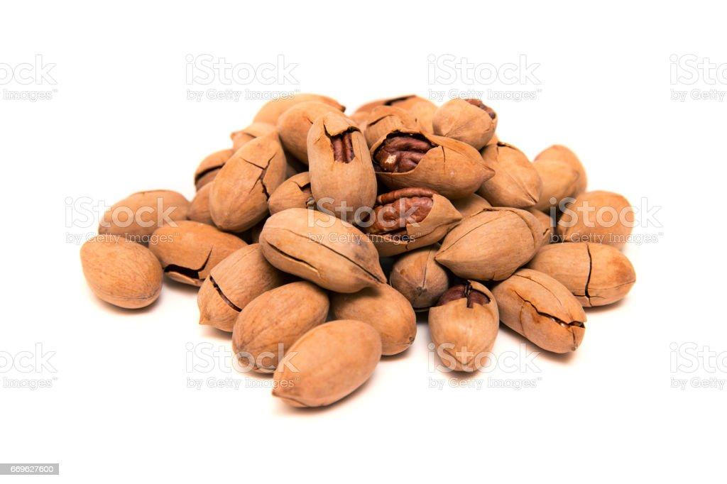 Pecan nuts isolated on white backgrund stock photo