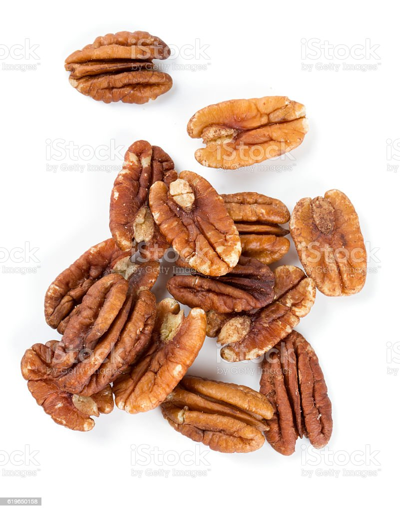 pecan nuts over white stock photo