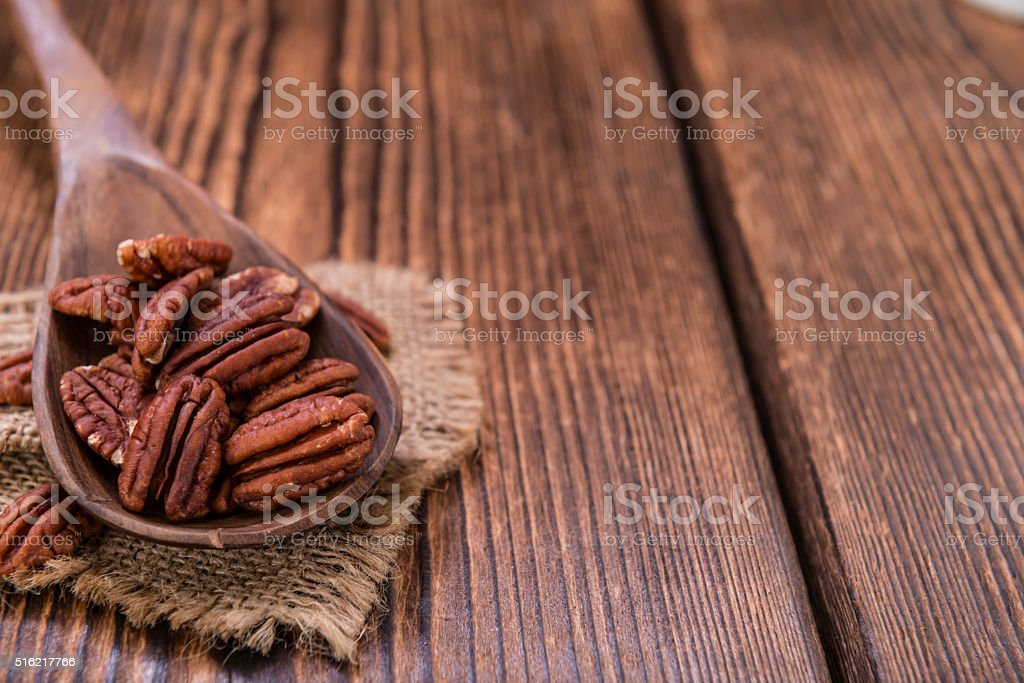 Pecan Nuts (selective focus) stock photo