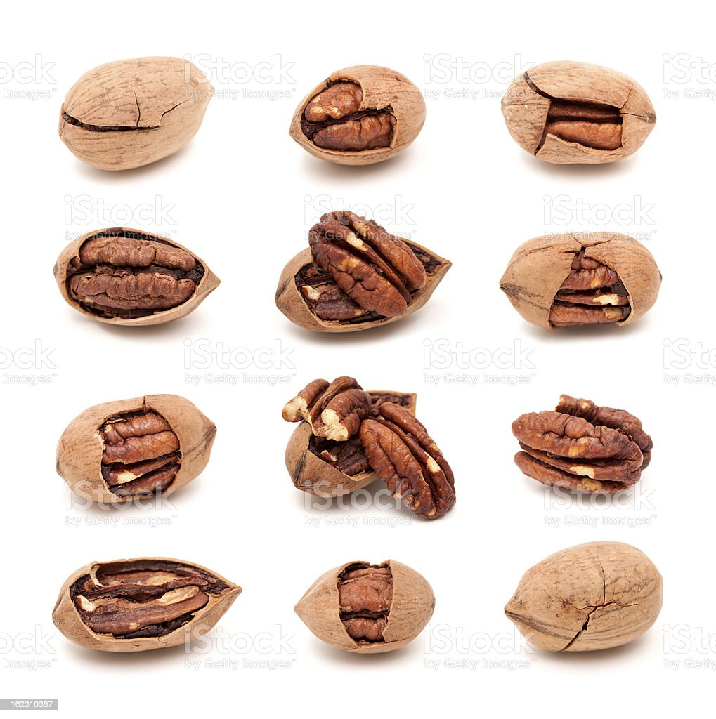 Pecan nuts set isolated on white background stock photo