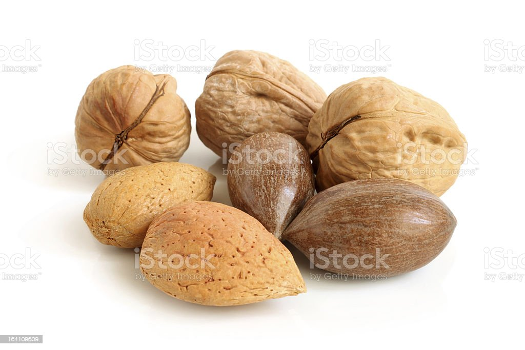 Pecan nuts, walnuts and almonds royalty-free stock photo