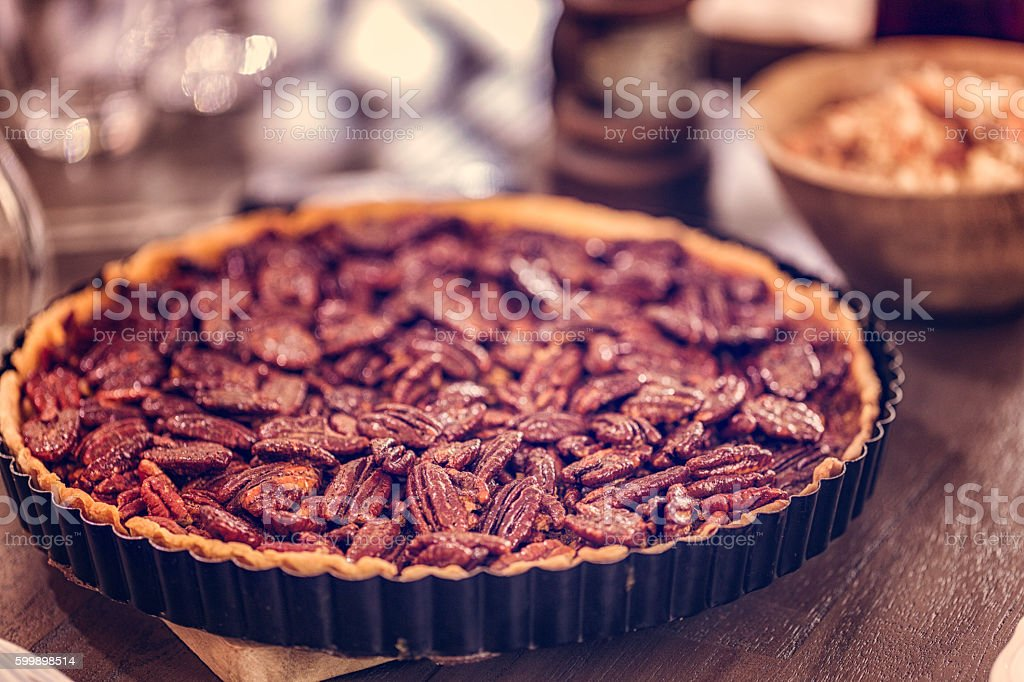 Pecan Pie Fresh Baked for the Holidays stock photo