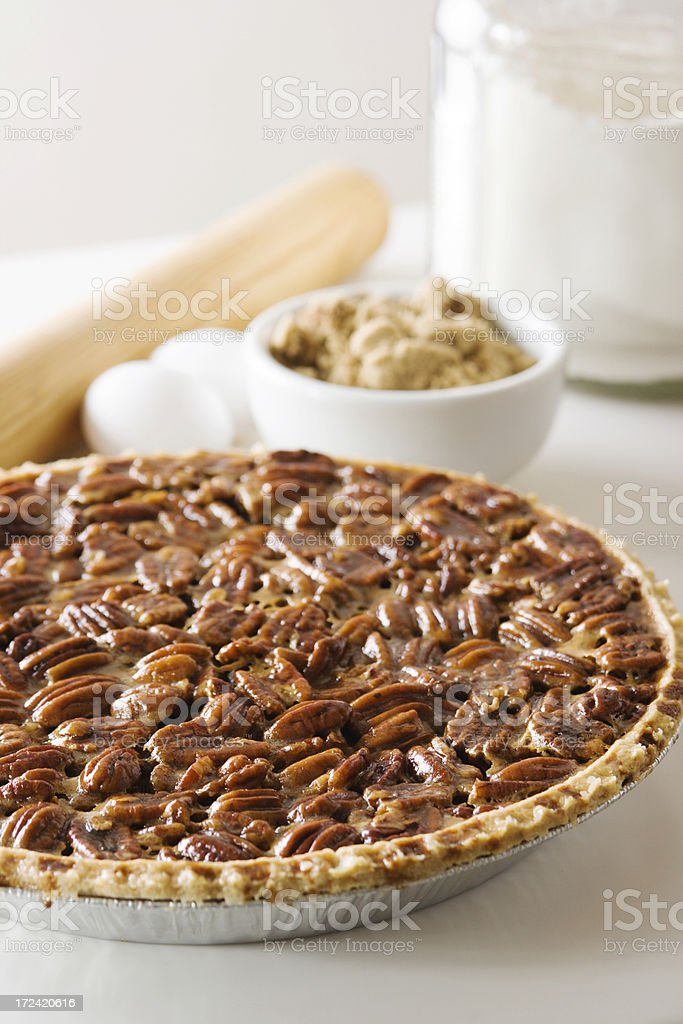 Pecan Pie, Fresh Baked Homemade Holiday Dessert Pastry with Ingredients royalty-free stock photo
