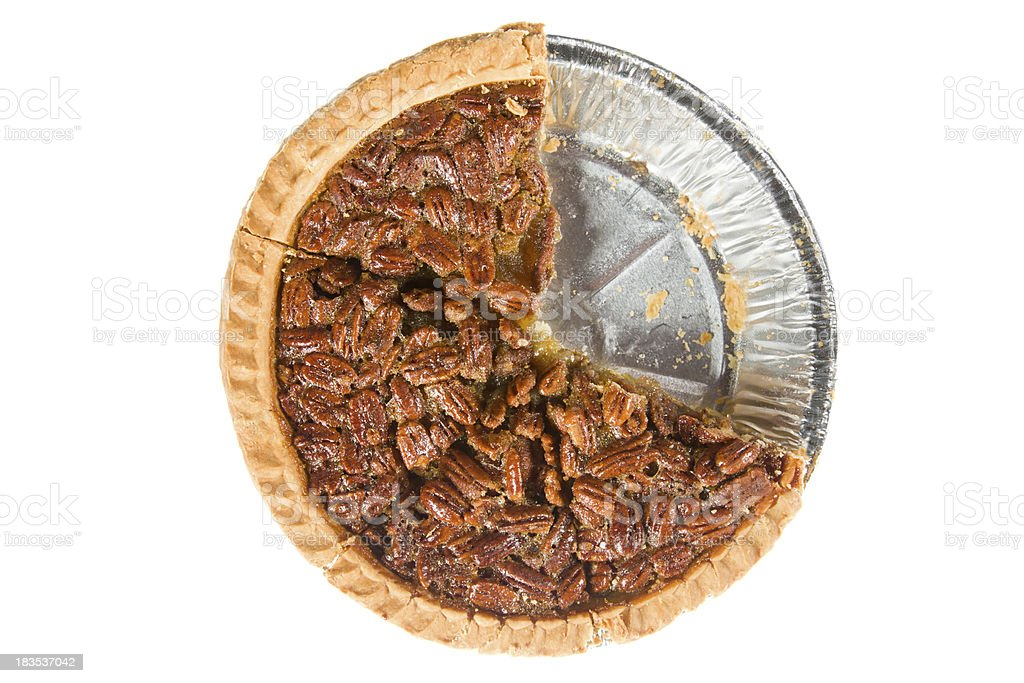 Pecan Pie Overhead Isolated Two Pieces Missing stock photo