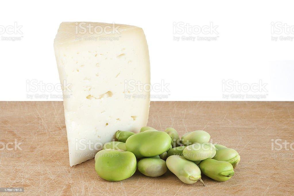 pecorino cheese and broad beans royalty-free stock photo