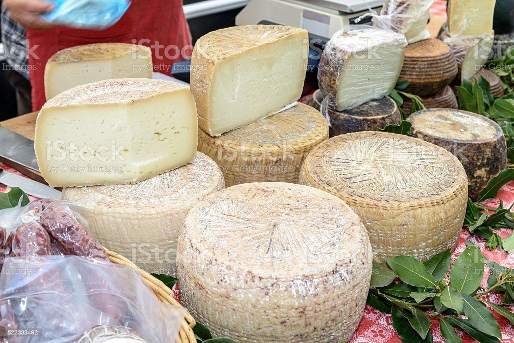 Pecorino cheese of Sardinia stock photo