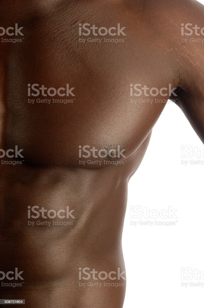 pectoral muscle of a black man stock photo