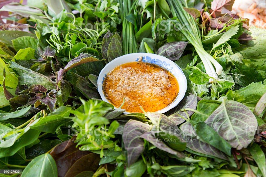 Peculiar herbs salad stock photo