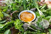 Peculiar herbs salad