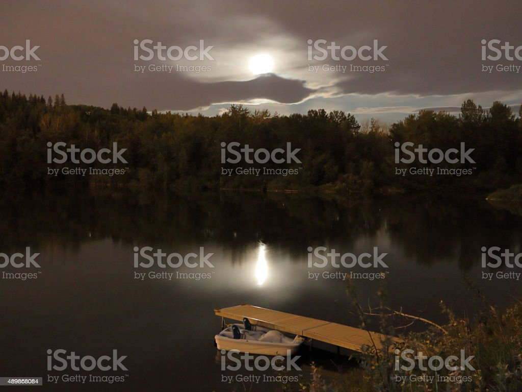 Pedal boat docked at night stock photo