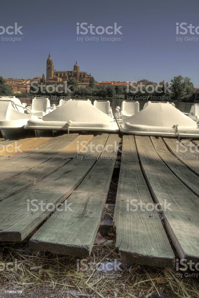 Pedal Boat pier stock photo