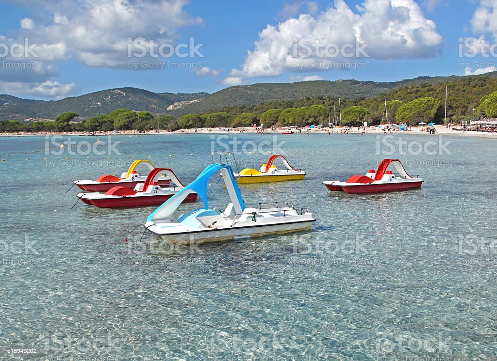 pedal boats at sea stock photo