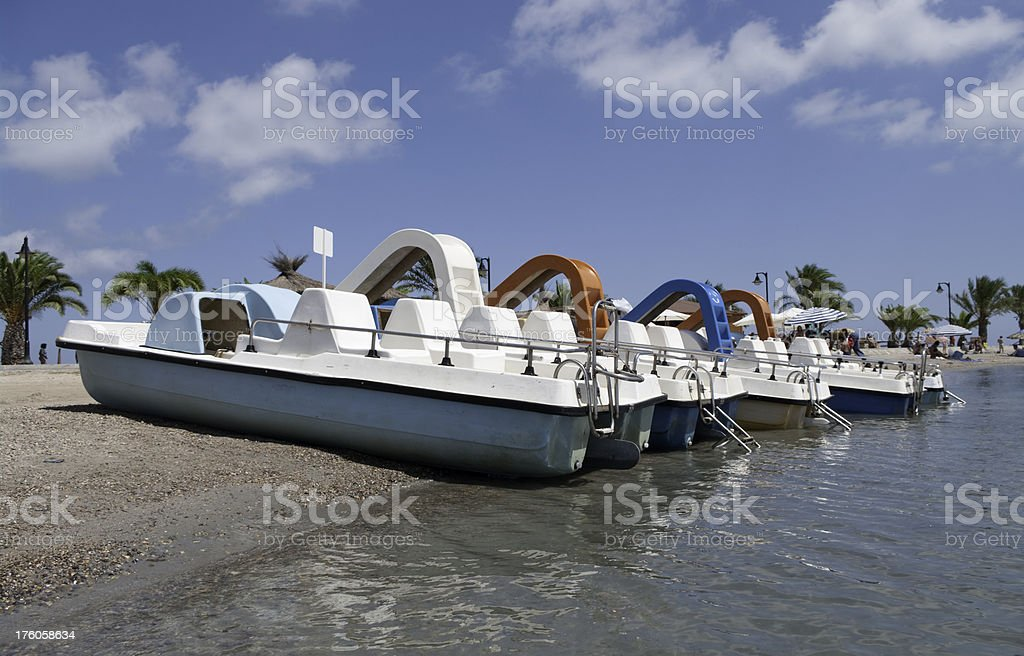 Pedal boats in Mar Menor Murcia Spain stock photo