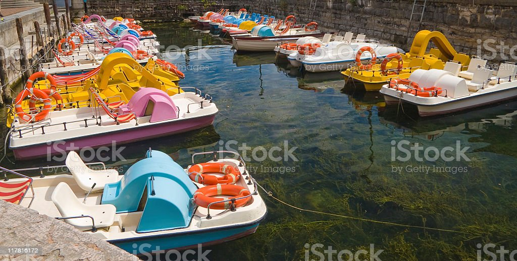 pedal boats in the haven royalty-free stock photo