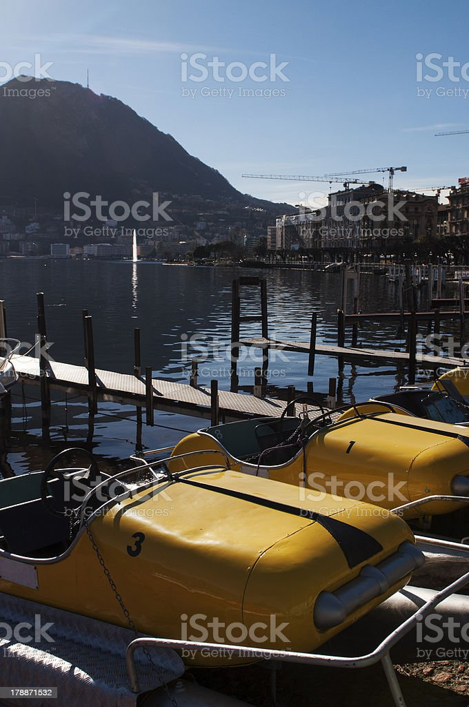 Pedal boats on the lake royalty-free stock photo