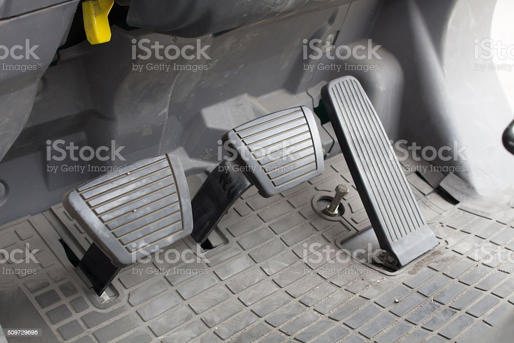 pedal clutch, brake and accelerator. stock photo