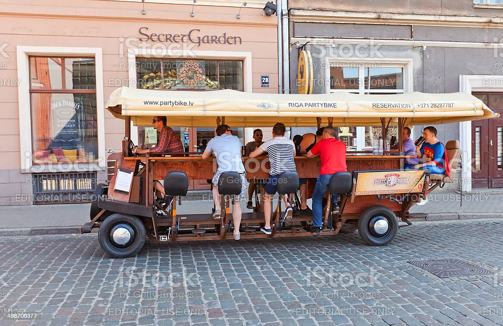 Pedal powered bar on the wheels stock photo