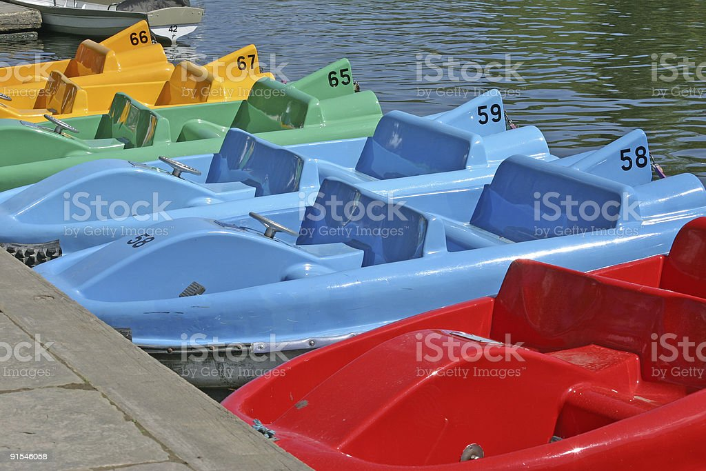 Pedalo Boats on the River Dee in Chester royalty-free stock photo