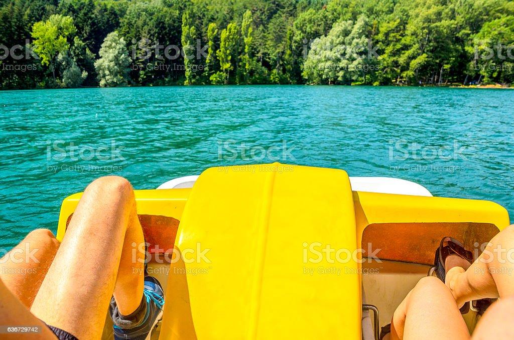 pedalo paddle boat stock photo