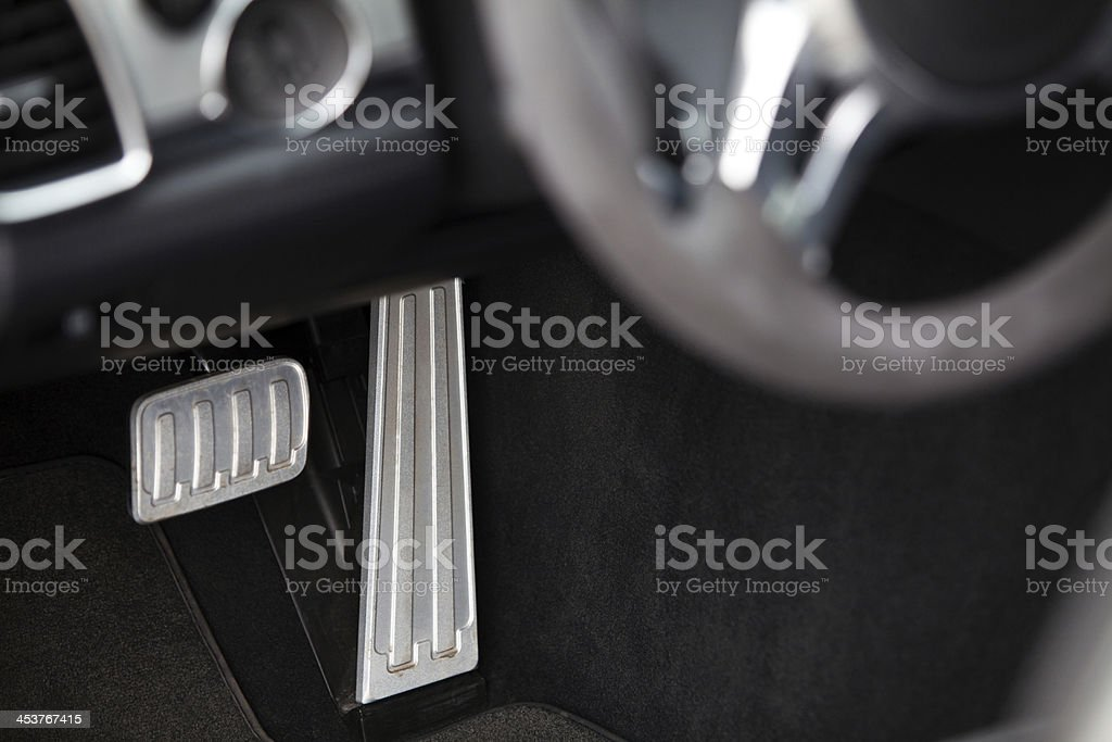 Pedals in a car stock photo