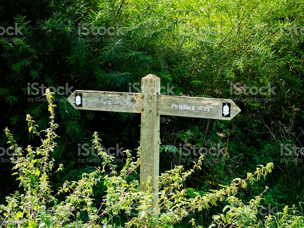 Peddars Way - sign pointing in two directions stock photo