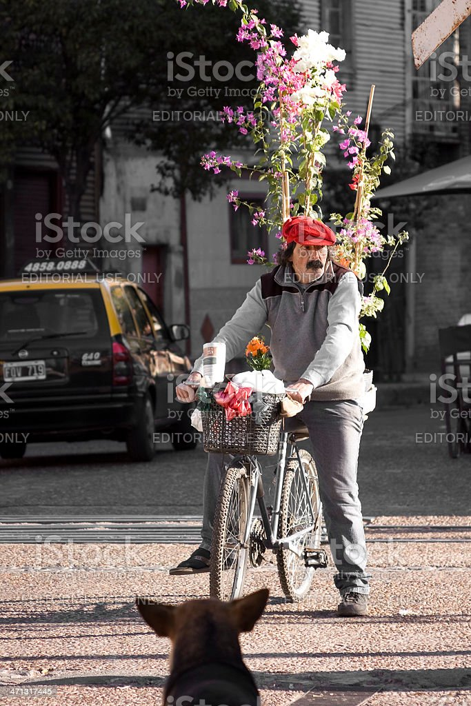Peddler of flowers and plants royalty-free stock photo