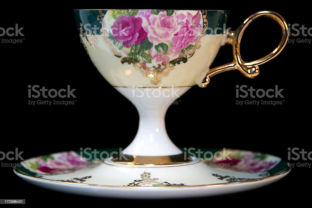Pedestal Cup & Saucer on Black royalty-free stock photo