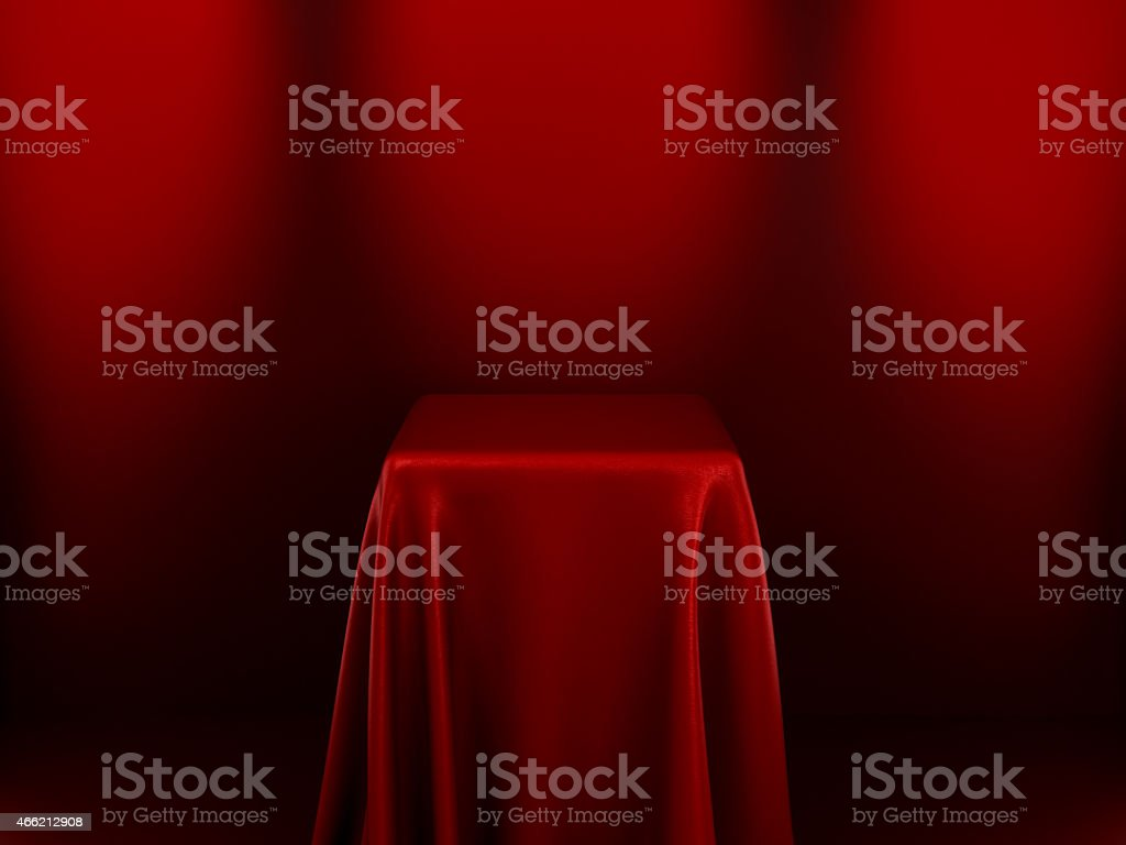 Pedestal With Red Cloth stock photo