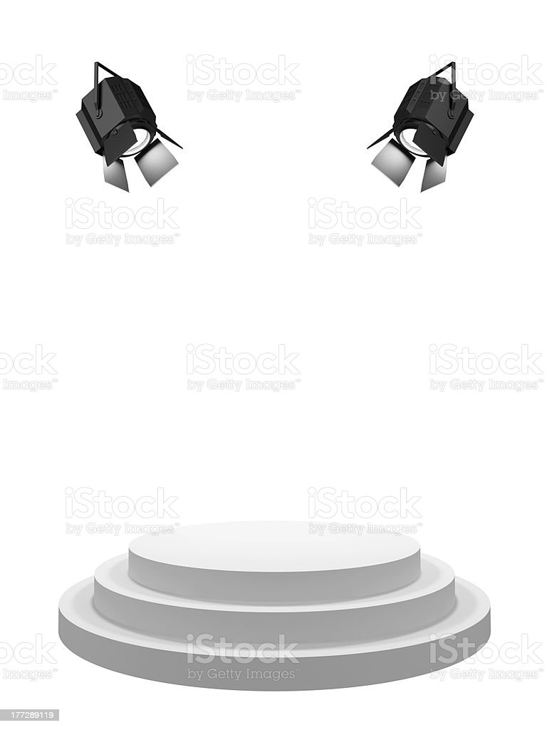 Pedestal with searchlights stock photo