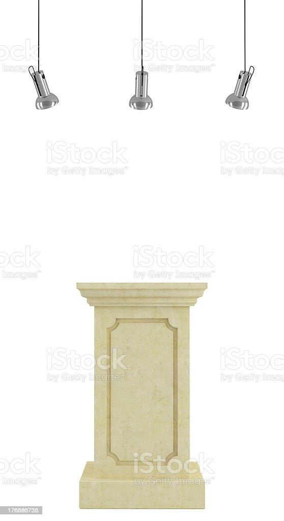 Pedestal with spotlight stock photo