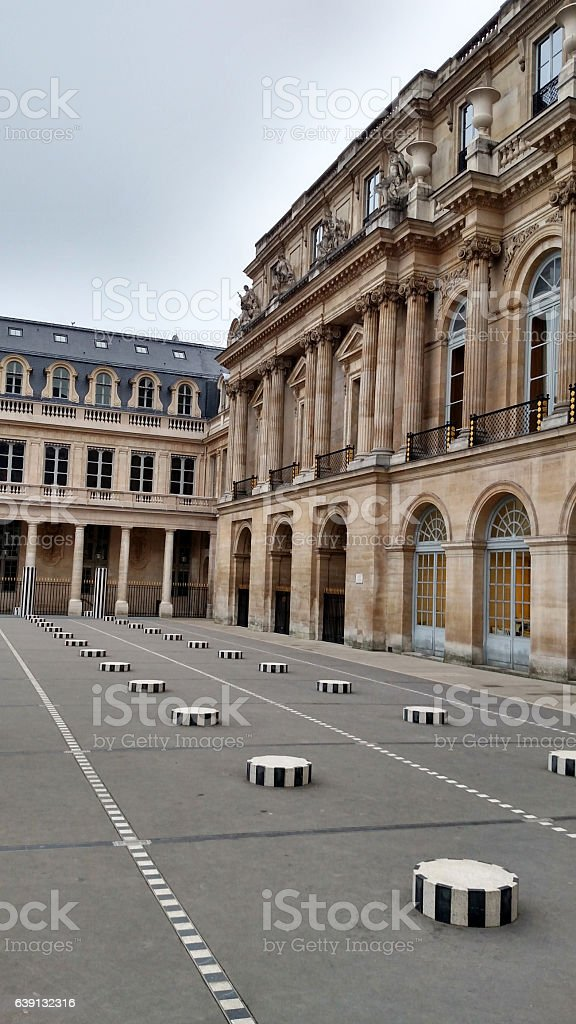 Pedestals in courtyard and facade of Palais Royale Paris France stock photo