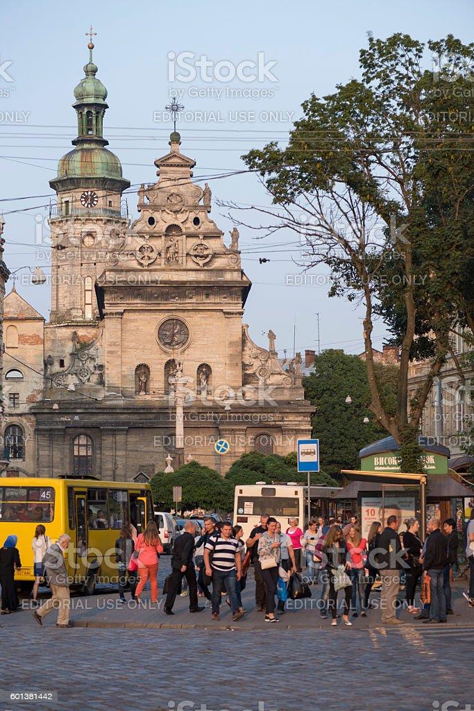 Pedestrains and St. Andrew's Church in Lviv, Ukraine stock photo