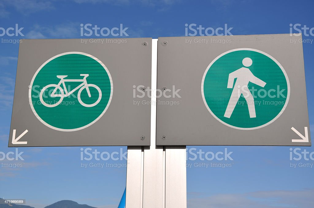 Pedestrian and bike sign royalty-free stock photo