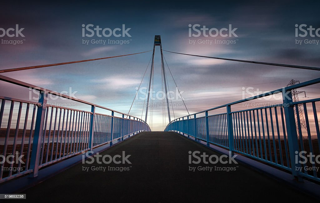 Pedestrian and cycle bridge stock photo