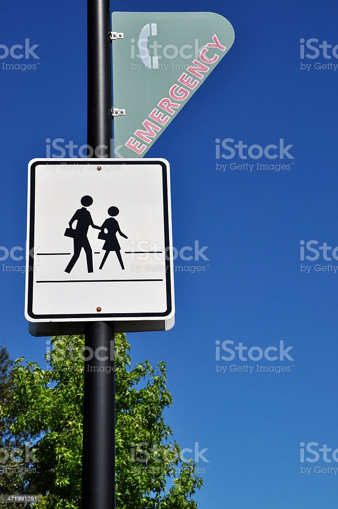 Pedestrian and Emergency Sign royalty-free stock photo