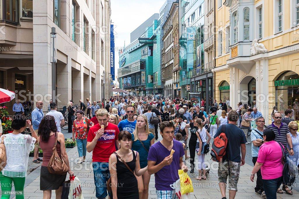 Pedestrian area in downtown Leipzig stock photo
