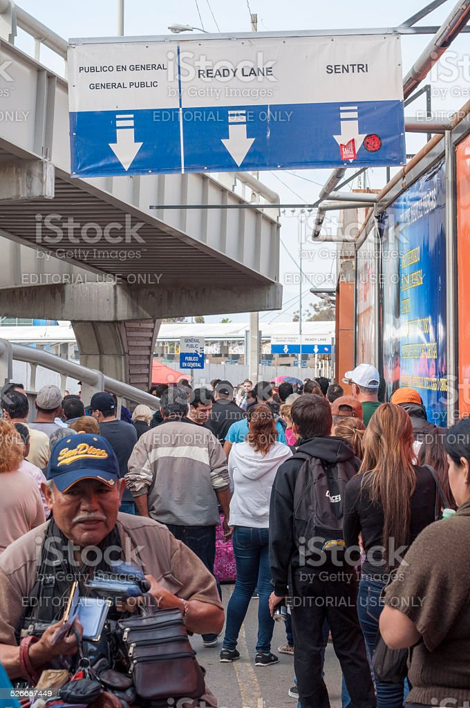 Pedestrian border crossing stock photo