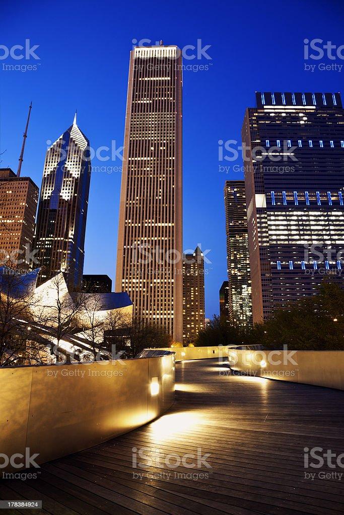 Pedestrian Bridge and Chicago skyline stock photo