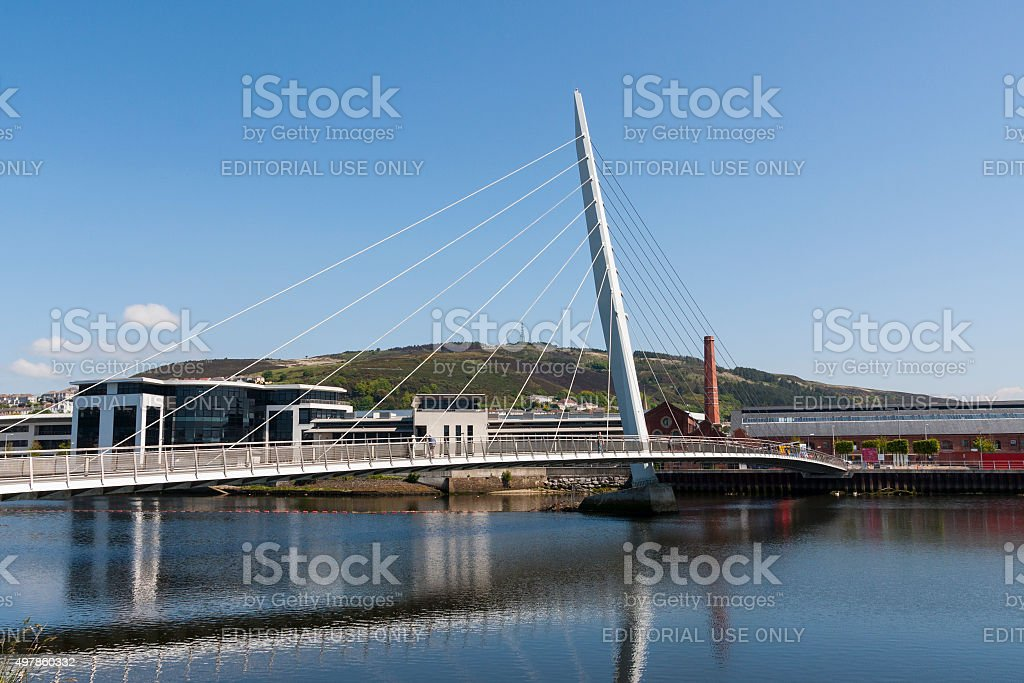 Pedestrian bridge at Cardiff harbour in Wales stock photo