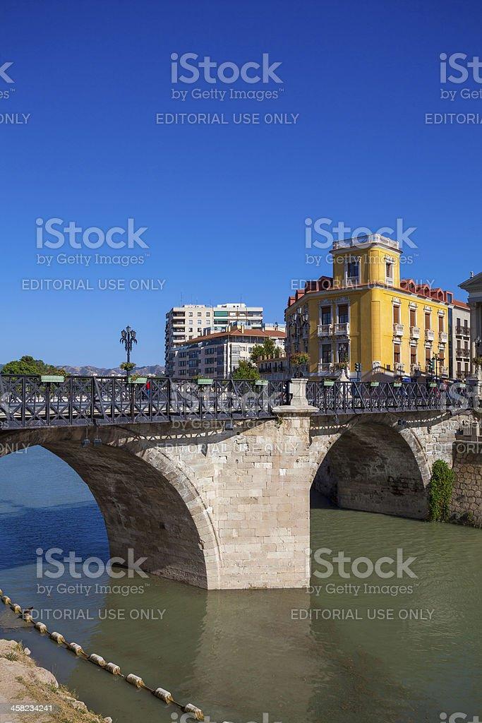 Pedestrian bridge at the Rio Seguro in central Murcia, Spain royalty-free stock photo