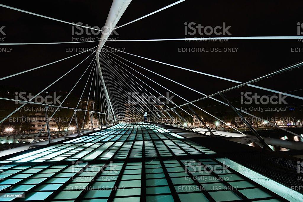 Pedestrian bridge in Bilbao by Calatrava stock photo