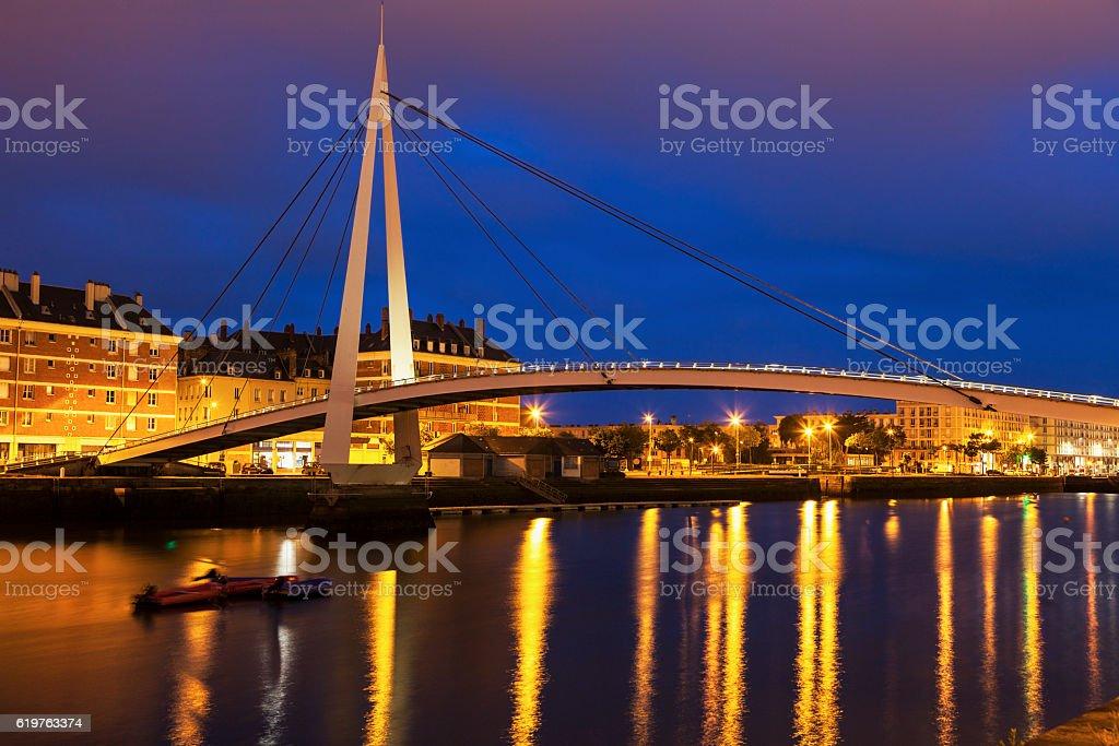 Pedestrian bridge in Le Havre stock photo