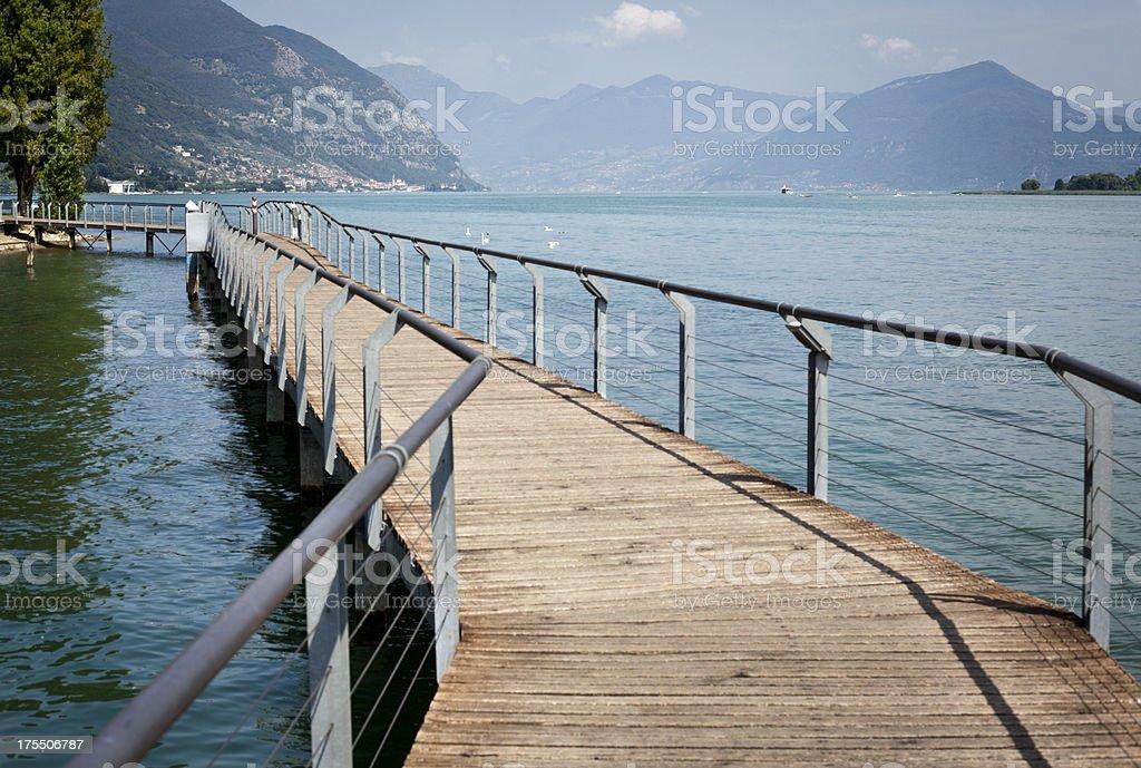 Pedestrian Bridge On Iseo Lake, Lombardy Italy stock photo