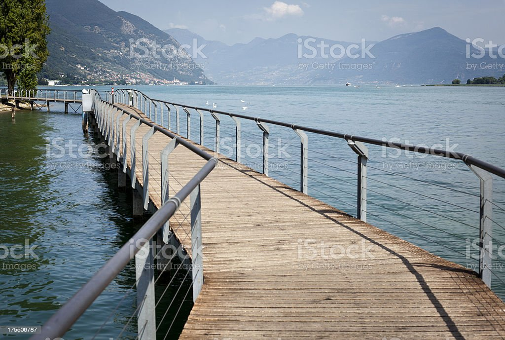 Pedestrian Bridge On Iseo Lake, Lombardy Italy stock photo