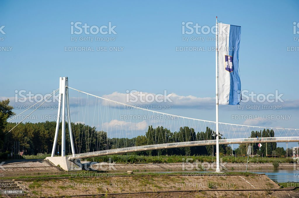 Pedestrian bridge over Drava river (Pjesacki most) in Osijek stock photo