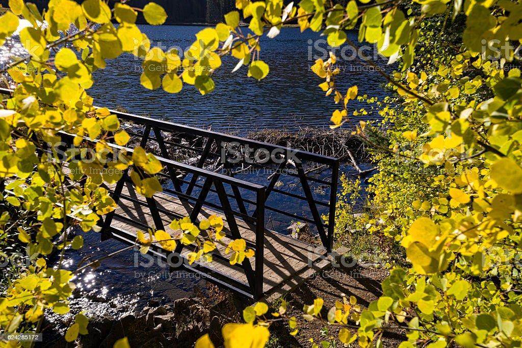 Pedestrian Bridge with Fall Colors Scenic Lake stock photo