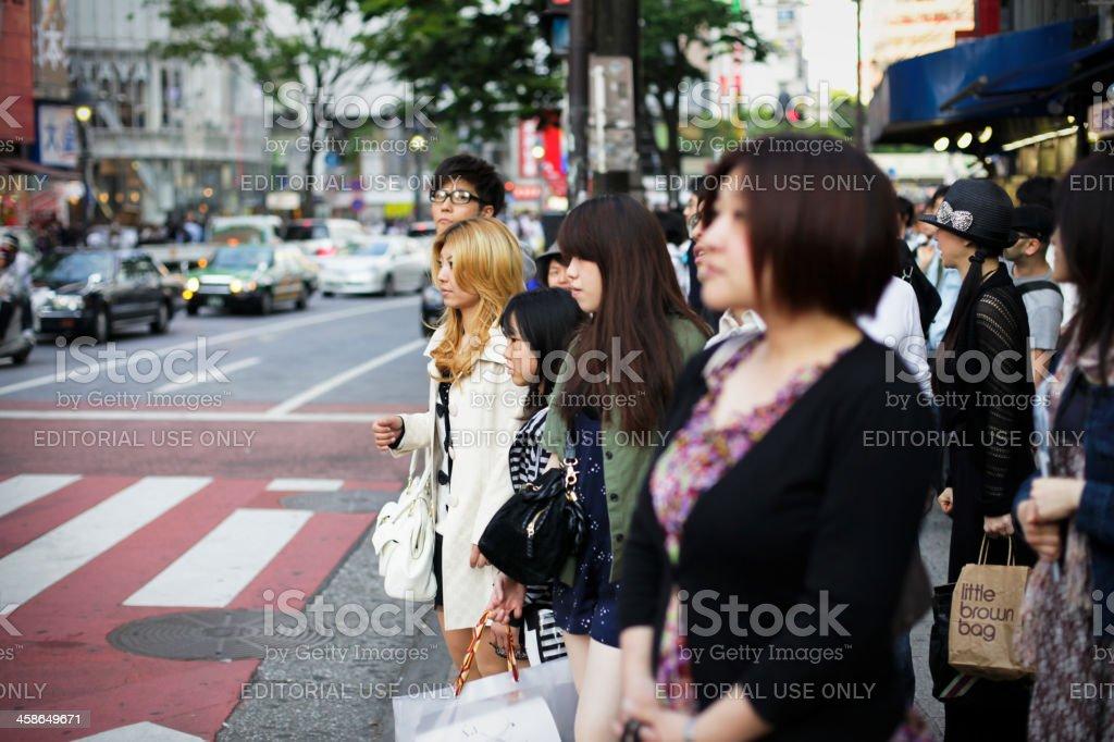 Pedestrian Cross in Tokyo stock photo