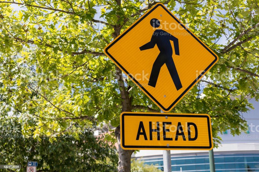 Pedestrian Crossing Ahead Sign stock photo