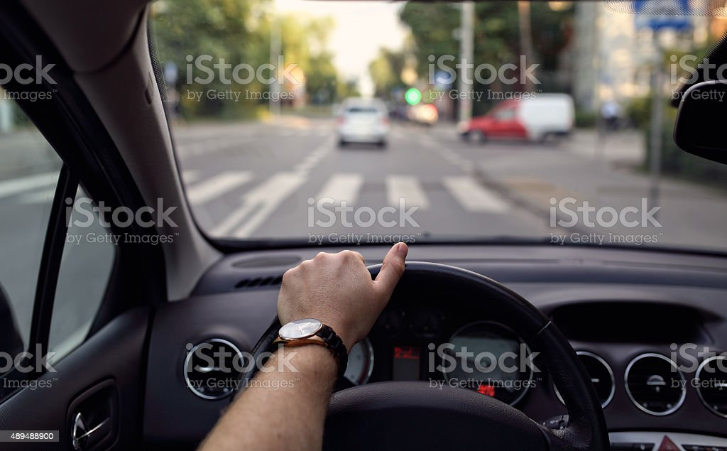 Pedestrian crossing from the driver's eyes stock photo
