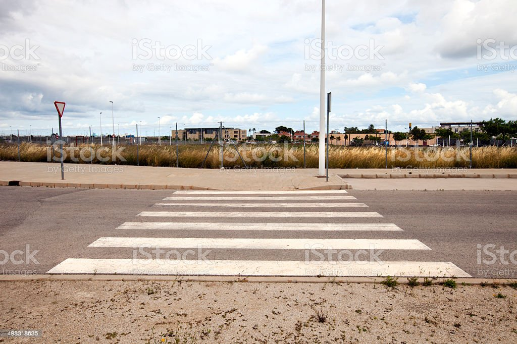 Pedestrian crossing in abandoned housing estate stock photo